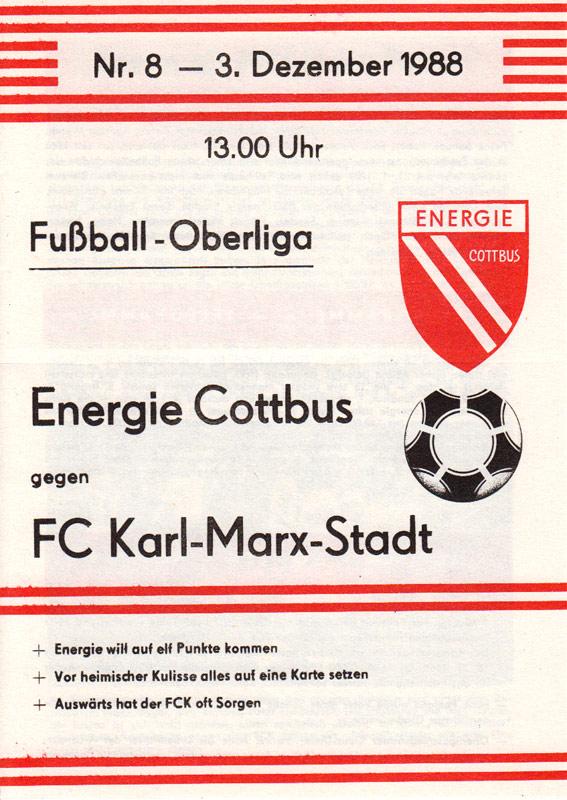 Programm 1988//89 BSG Energie Cottbus Union Berlin