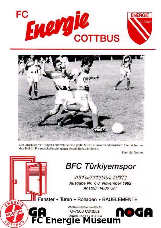 Programm 2000//01 Eisenhüttenstädter FC Stahl Türkiyemspor